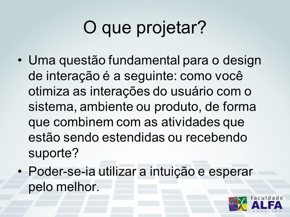 O que projetar? Uma questão fundamental para o design de interação é a seguinte: como você otimiza as interações do usuário com o sistema, ambiente ou