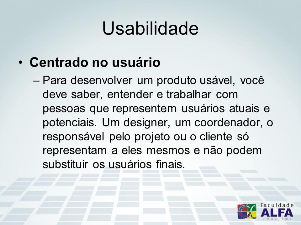 Usabilidade Centrado no usuário –Para desenvolver um produto usável, você deve saber, entender e trabalhar com pessoas que representem usuários atuais