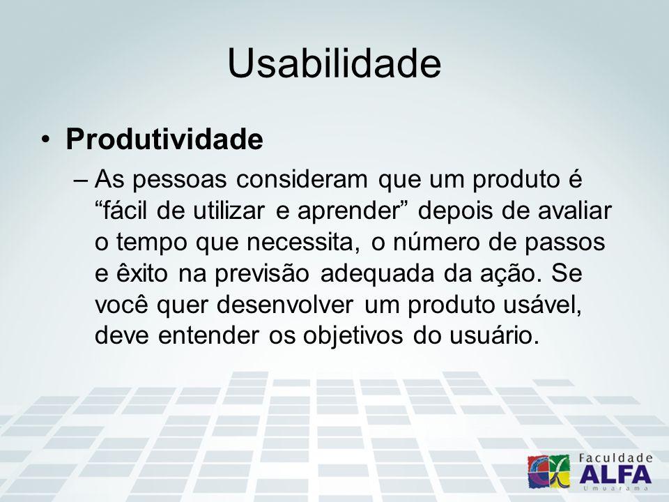 Usabilidade Produtividade –As pessoas consideram que um produto é fácil de utilizar e aprender depois de avaliar o tempo que necessita, o número de pa