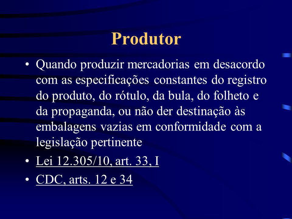 Produtor Quando produzir mercadorias em desacordo com as especificações constantes do registro do produto, do rótulo, da bula, do folheto e da propaganda, ou não der destinação às embalagens vazias em conformidade com a legislação pertinente Lei 12.305/10, art.