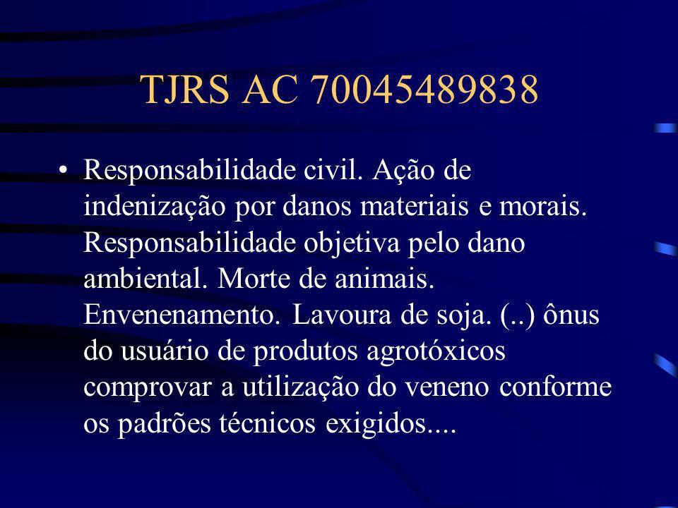 TJRS AC 70045489838 Responsabilidade civil. Ação de indenização por danos materiais e morais. Responsabilidade objetiva pelo dano ambiental. Morte de