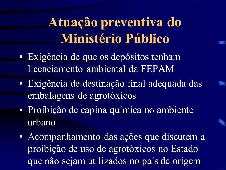 Atuação preventiva do Ministério Público Exigência de que os depósitos tenham licenciamento ambiental da FEPAM Exigência de destinação final adequada