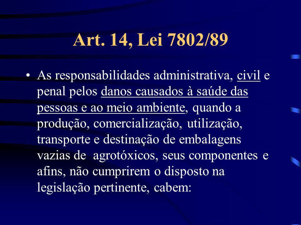 Art. 14, Lei 7802/89 As responsabilidades administrativa, civil e penal pelos danos causados à saúde das pessoas e ao meio ambiente, quando a produção