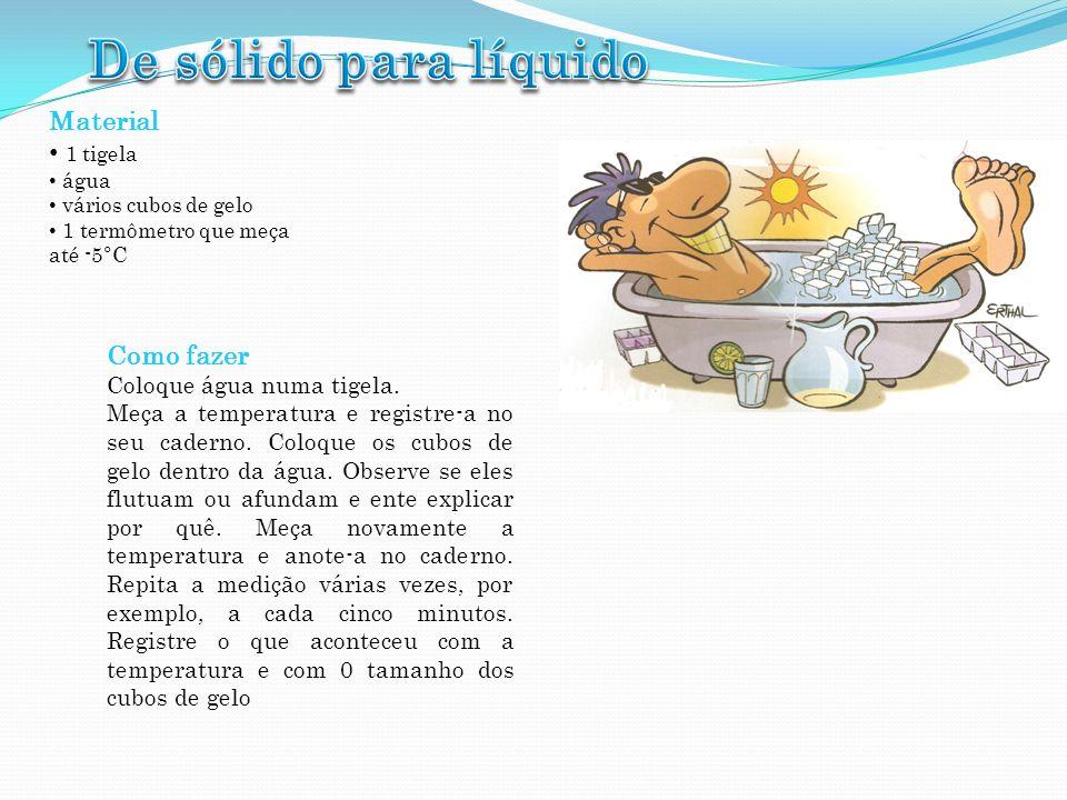 Material 1 tigela água vários cubos de gelo 1 termômetro que meça até -5°C Como fazer Coloque água numa tigela. Meça a temperatura e registre-a no seu