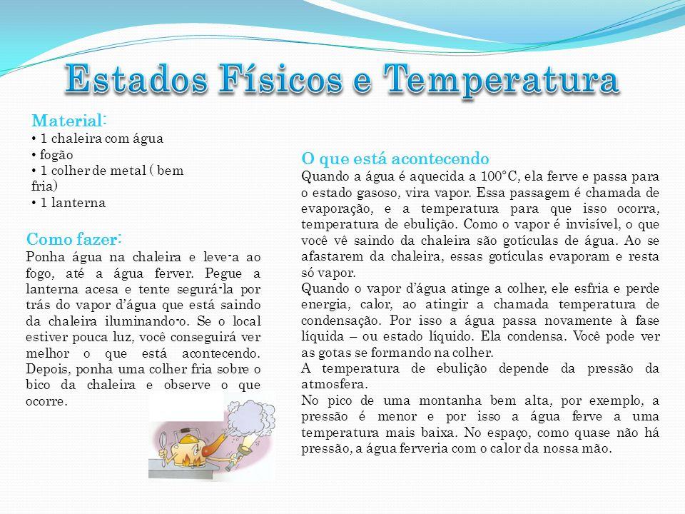 Material: 1 chaleira com água fogão 1 colher de metal ( bem fria) 1 lanterna Como fazer: Ponha água na chaleira e leve-a ao fogo, até a água ferver. P