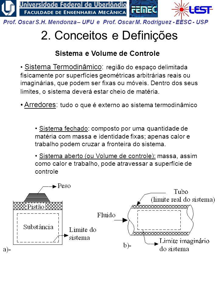 Prof. Oscar S.H. Mendonza – UFU e Prof. Oscar M. Rodriguez - EESC - USP 2. Conceitos e Definições Sistema e Volume de Controle Sistema Termodinâmico: