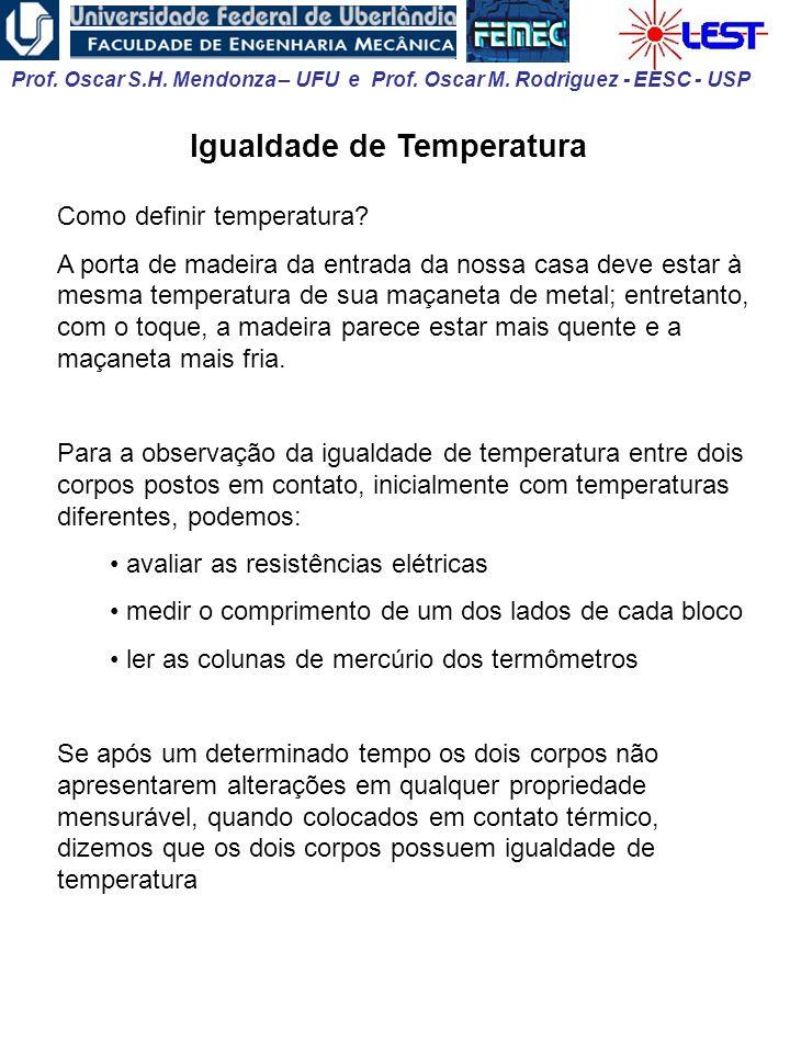 Prof. Oscar S.H. Mendonza – UFU e Prof. Oscar M. Rodriguez - EESC - USP Igualdade de Temperatura Como definir temperatura? A porta de madeira da entra