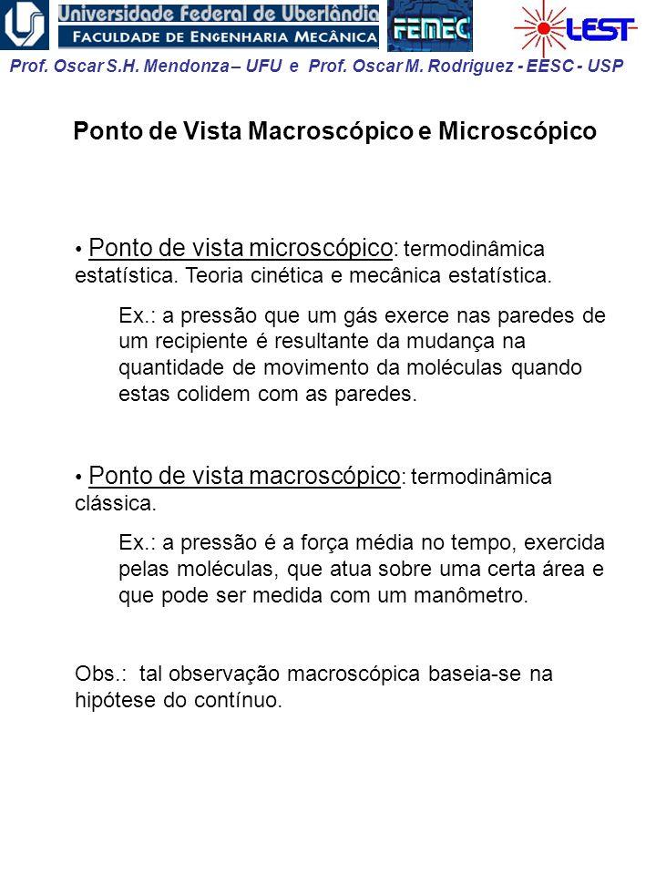 Prof. Oscar S.H. Mendonza – UFU e Prof. Oscar M. Rodriguez - EESC - USP Ponto de Vista Macroscópico e Microscópico Ponto de vista microscópico: termod