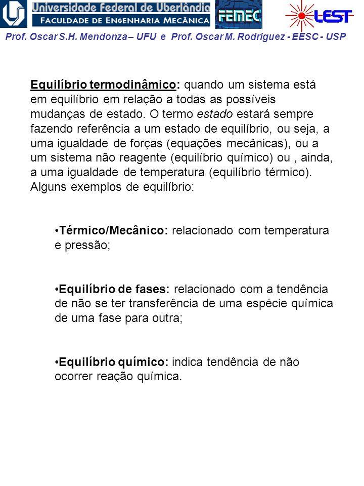 Prof. Oscar S.H. Mendonza – UFU e Prof. Oscar M. Rodriguez - EESC - USP Equilíbrio termodinâmico: quando um sistema está em equilíbrio em relação a to