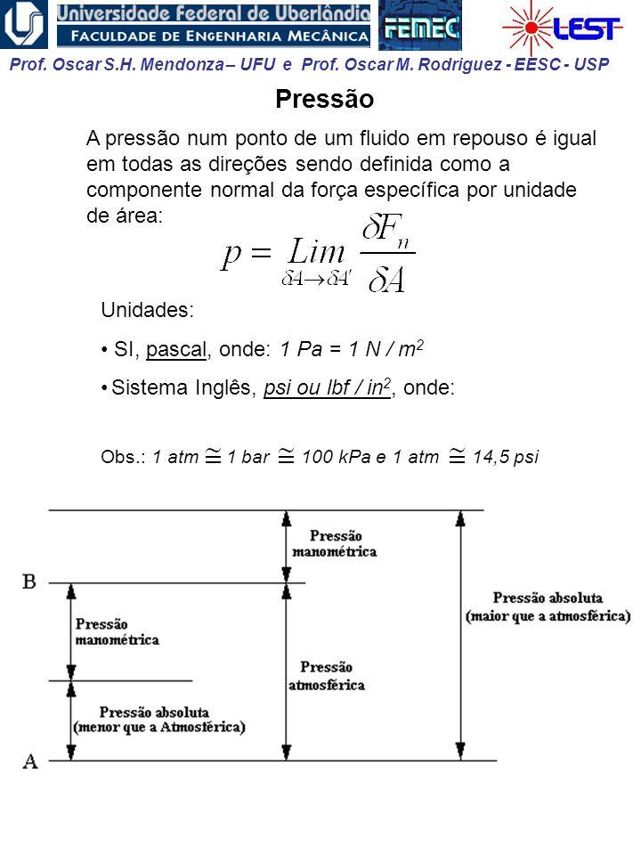 Prof. Oscar S.H. Mendonza – UFU e Prof. Oscar M. Rodriguez - EESC - USP Pressão A pressão num ponto de um fluido em repouso é igual em todas as direçõ