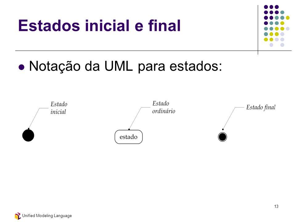 Unified Modeling Language 13 Estados inicial e final Notação da UML para estados: