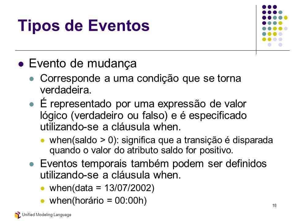 Unified Modeling Language 18 Tipos de Eventos Evento de mudança Corresponde a uma condição que se torna verdadeira. É representado por uma expressão d