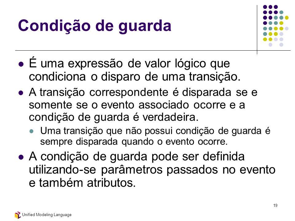 Unified Modeling Language 19 Condição de guarda É uma expressão de valor lógico que condiciona o disparo de uma transição. A transição correspondente