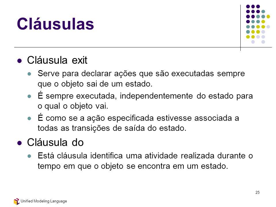 Unified Modeling Language 25 Cláusulas Cláusula exit Serve para declarar ações que são executadas sempre que o objeto sai de um estado. É sempre execu