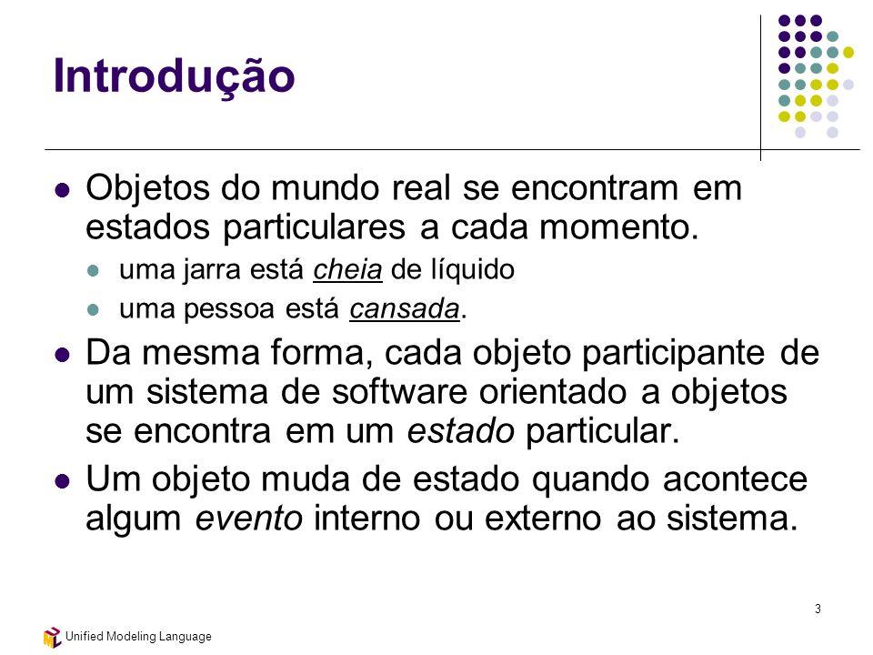 Unified Modeling Language 3 Introdução Objetos do mundo real se encontram em estados particulares a cada momento. uma jarra está cheia de líquido uma