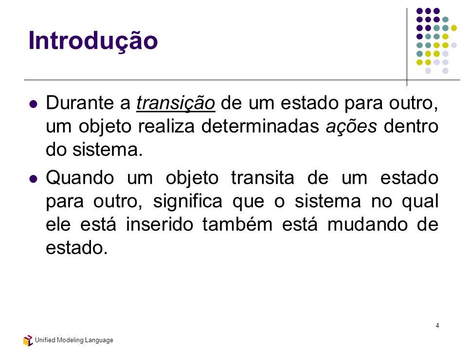 Unified Modeling Language 4 Introdução Durante a transição de um estado para outro, um objeto realiza determinadas ações dentro do sistema. Quando um