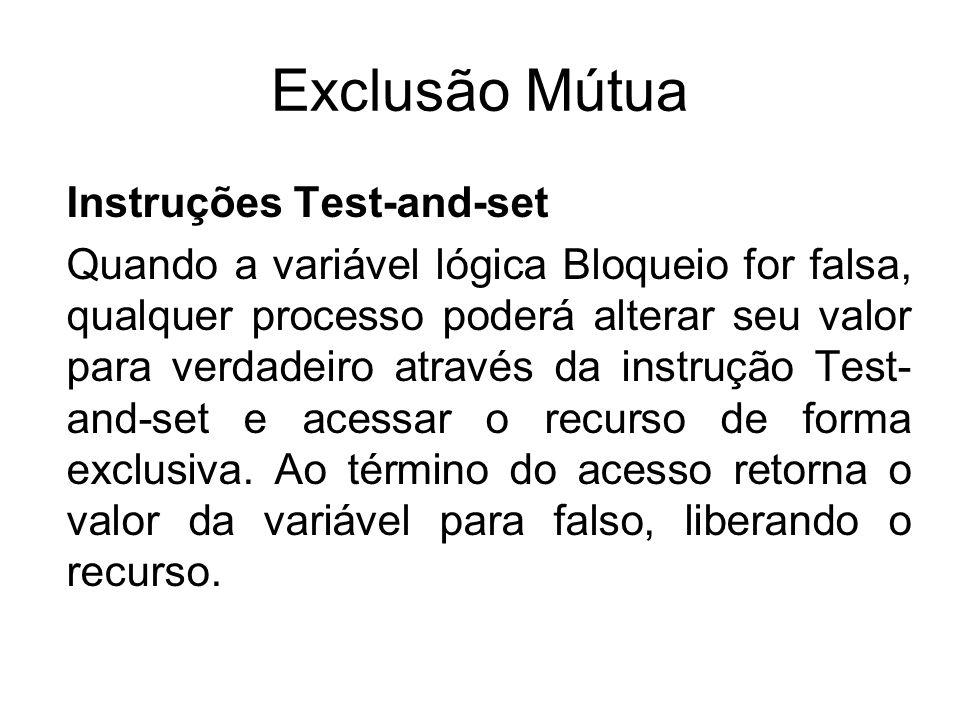 Exclusão Mútua Instruções Test-and-set Quando a variável lógica Bloqueio for falsa, qualquer processo poderá alterar seu valor para verdadeiro através