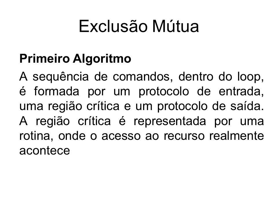 Exclusão Mútua Primeiro Algoritmo A sequência de comandos, dentro do loop, é formada por um protocolo de entrada, uma região crítica e um protocolo de