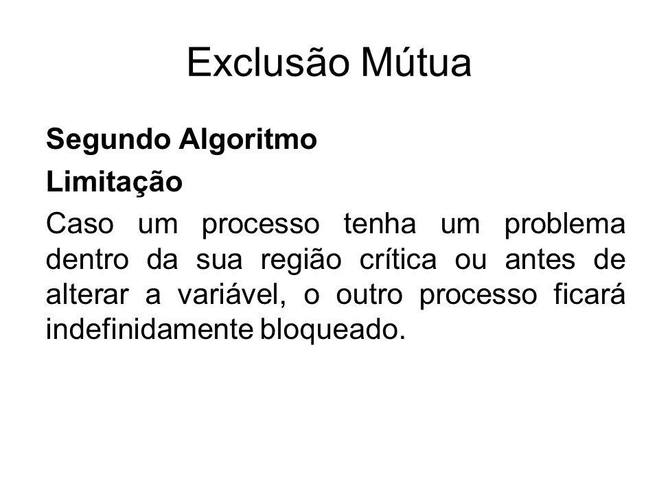 Exclusão Mútua Segundo Algoritmo Limitação Caso um processo tenha um problema dentro da sua região crítica ou antes de alterar a variável, o outro pro