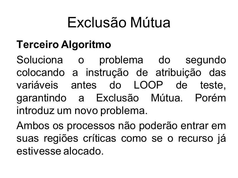 Exclusão Mútua Terceiro Algoritmo Soluciona o problema do segundo colocando a instrução de atribuição das variáveis antes do LOOP de teste, garantindo