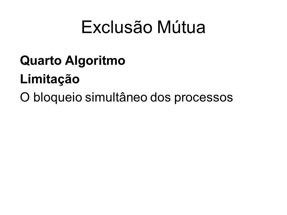 Exclusão Mútua Quarto Algoritmo Limitação O bloqueio simultâneo dos processos