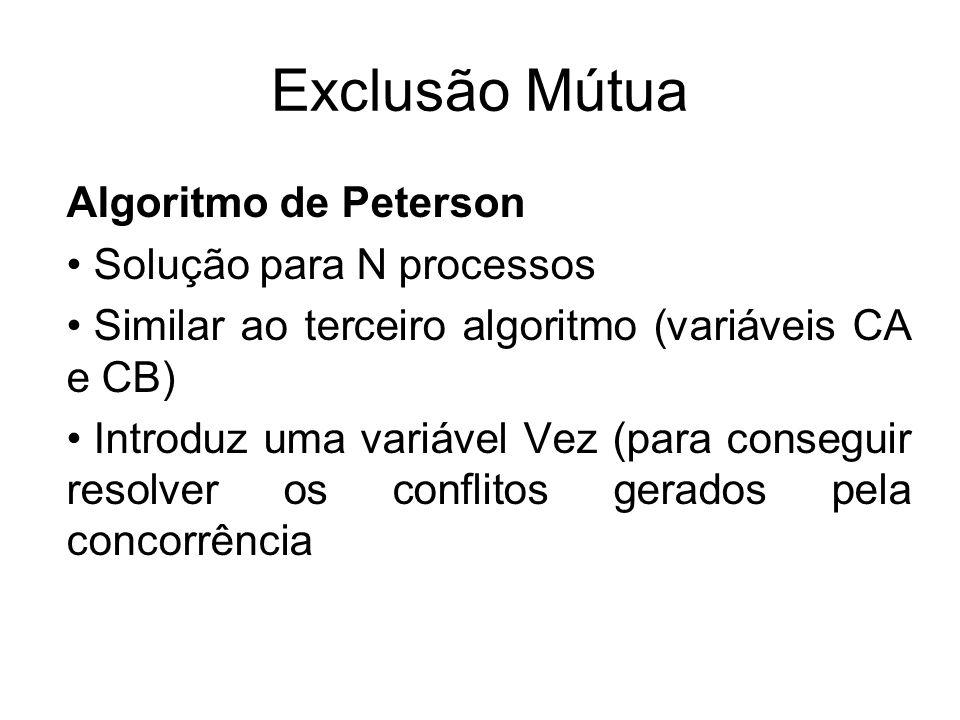 Exclusão Mútua Algoritmo de Peterson Solução para N processos Similar ao terceiro algoritmo (variáveis CA e CB) Introduz uma variável Vez (para conseg