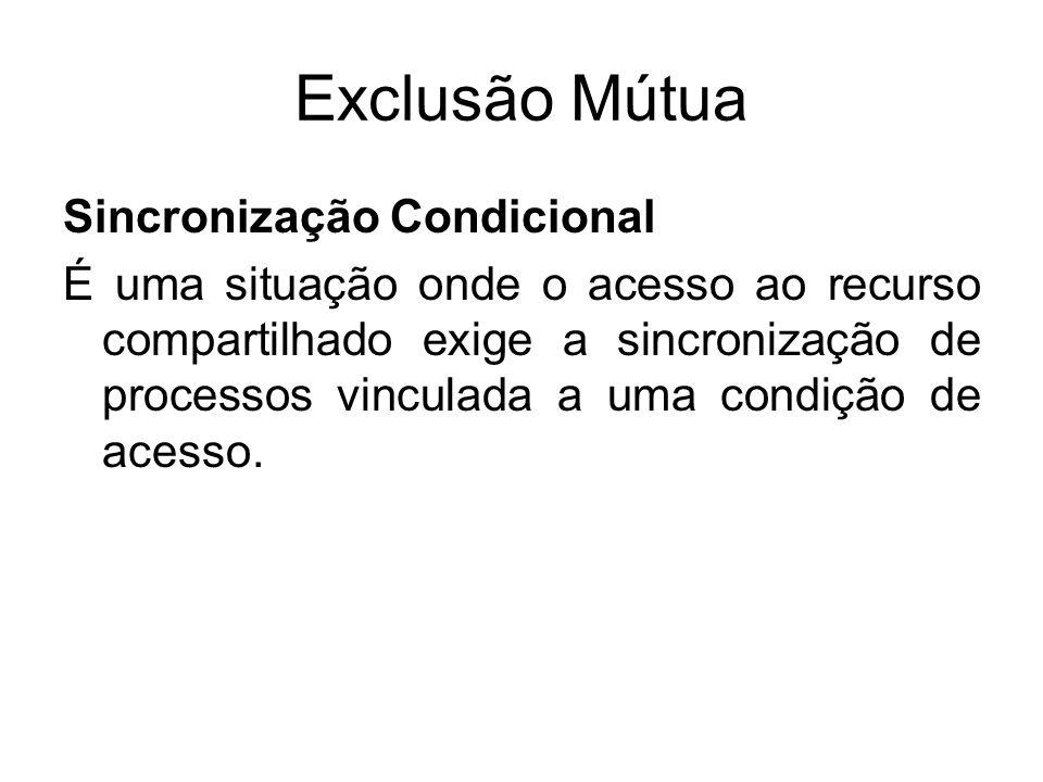 Exclusão Mútua Sincronização Condicional É uma situação onde o acesso ao recurso compartilhado exige a sincronização de processos vinculada a uma cond