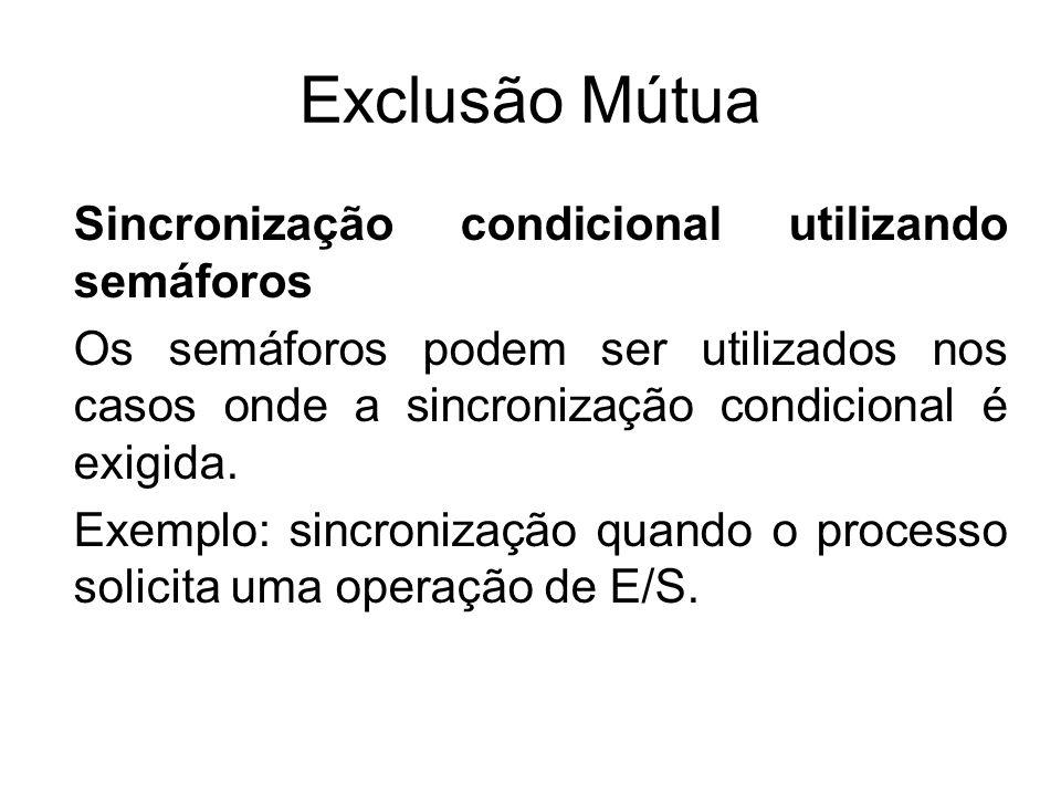 Exclusão Mútua Sincronização condicional utilizando semáforos Os semáforos podem ser utilizados nos casos onde a sincronização condicional é exigida.