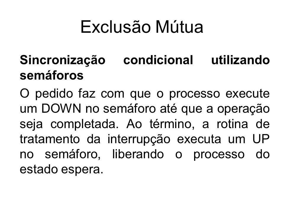 Exclusão Mútua Sincronização condicional utilizando semáforos O pedido faz com que o processo execute um DOWN no semáforo até que a operação seja comp