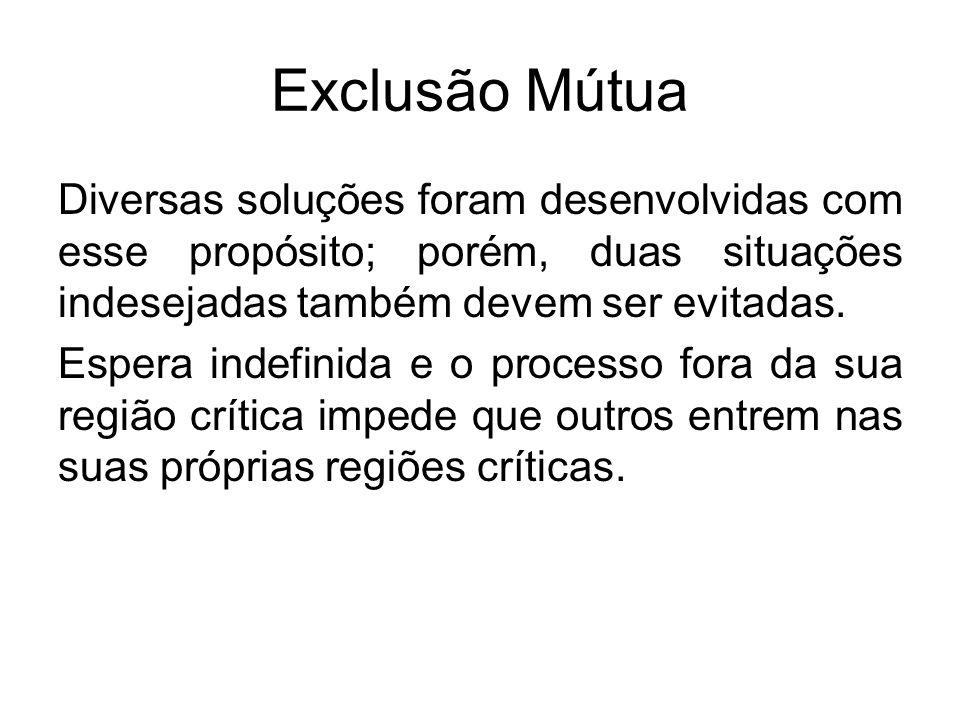 Exclusão Mútua Correção do Deadlock Eliminar os processos envolvidos no deadlock e liberar os seus recursos envolvidos.