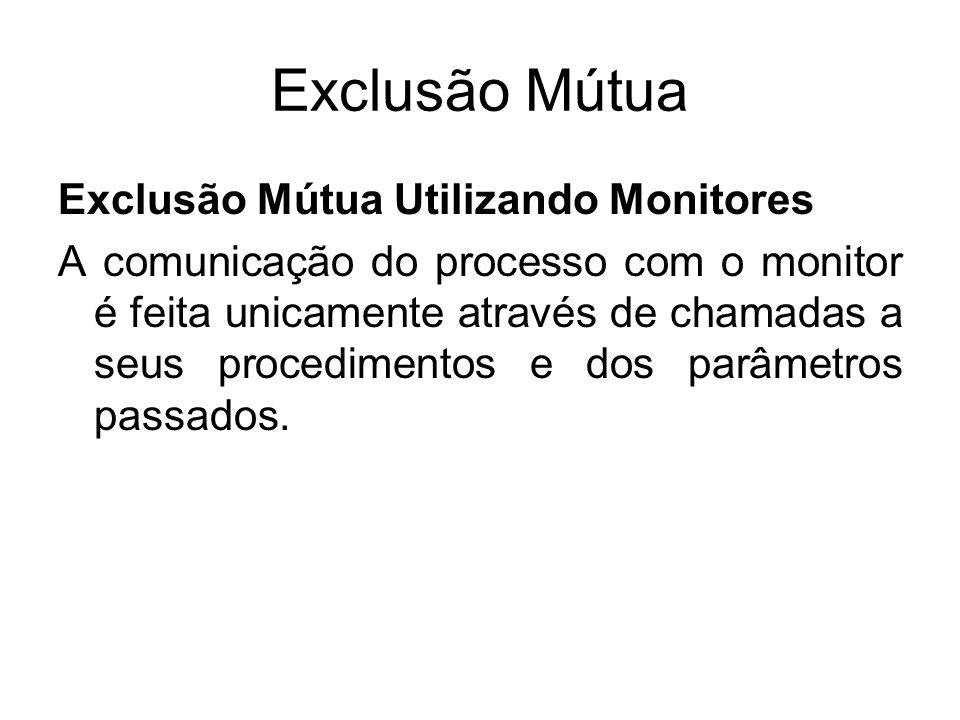 Exclusão Mútua Exclusão Mútua Utilizando Monitores A comunicação do processo com o monitor é feita unicamente através de chamadas a seus procedimentos