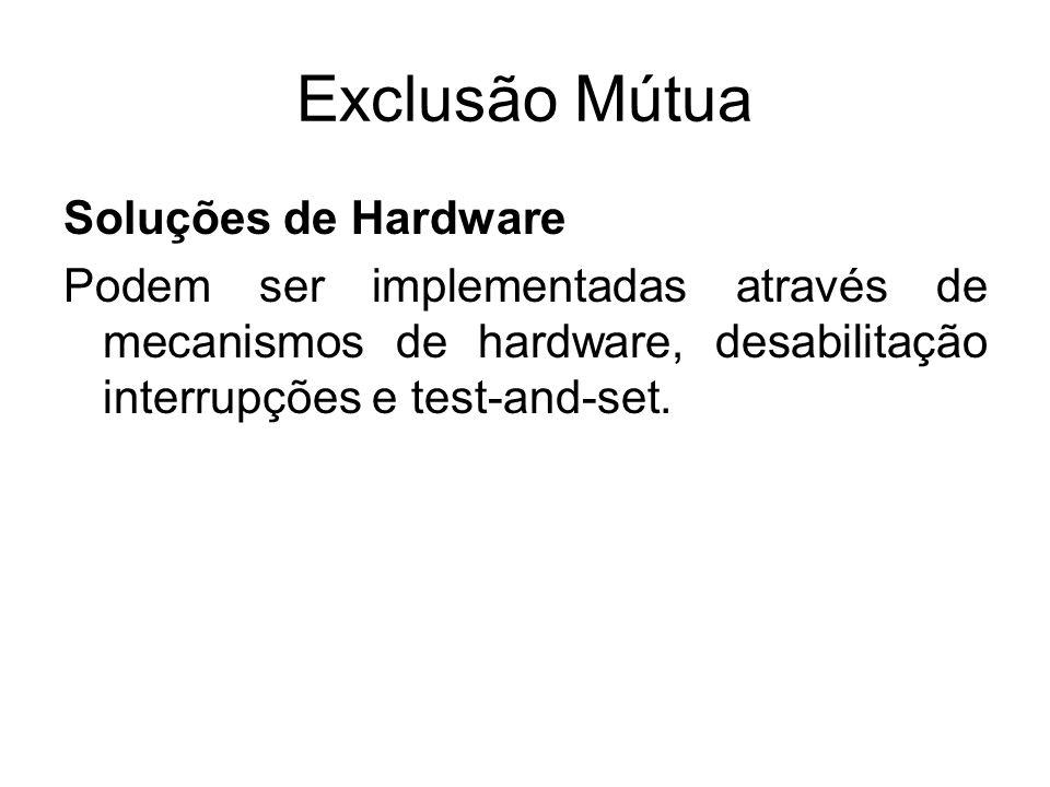Exclusão Mútua Algoritmo para exclusão Mútua entre N processos Todas as soluções possuíam uma deficiência conhecida como espera ocupada (busy wait) que consome tempo do processador desnecessariamente.