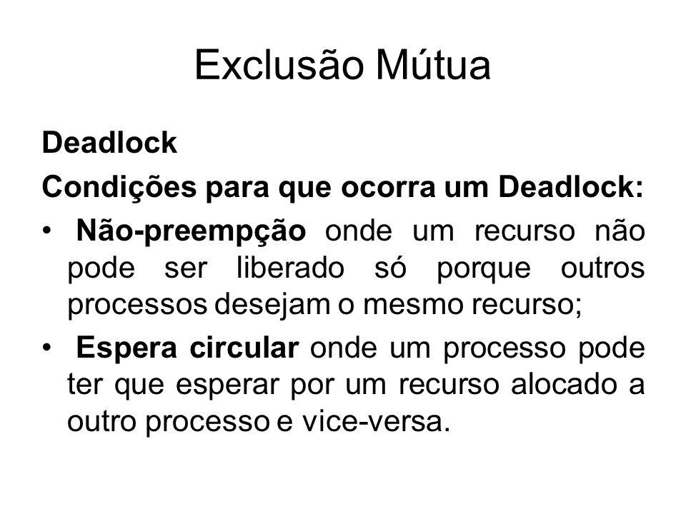 Exclusão Mútua Deadlock Condições para que ocorra um Deadlock: Não-preempção onde um recurso não pode ser liberado só porque outros processos desejam