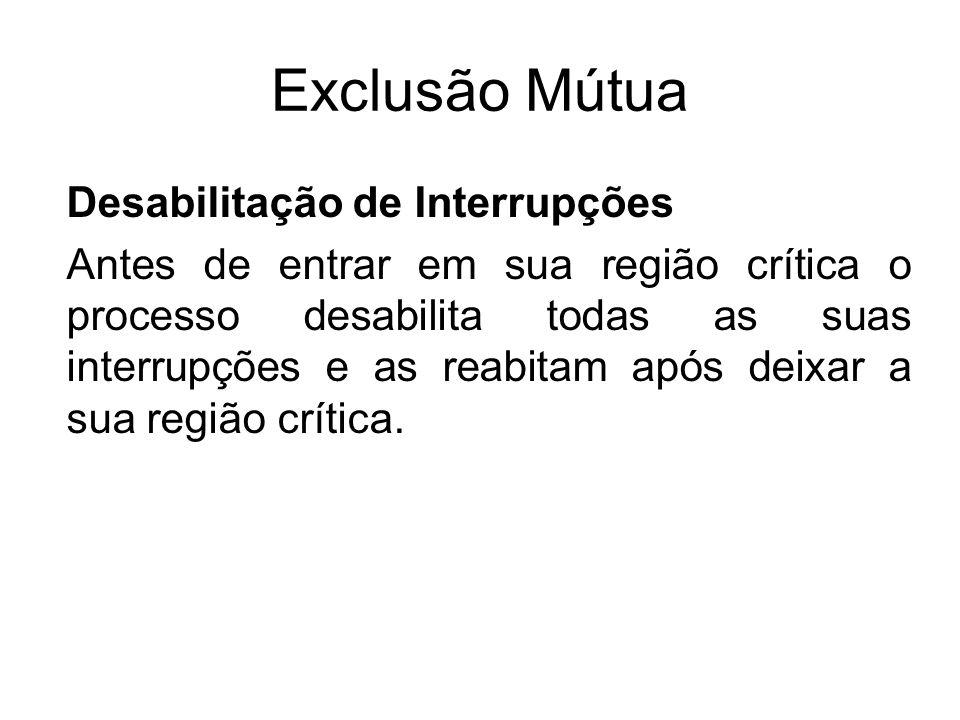 Exclusão Mútua Desabilitação de Interrupções Antes de entrar em sua região crítica o processo desabilita todas as suas interrupções e as reabitam após