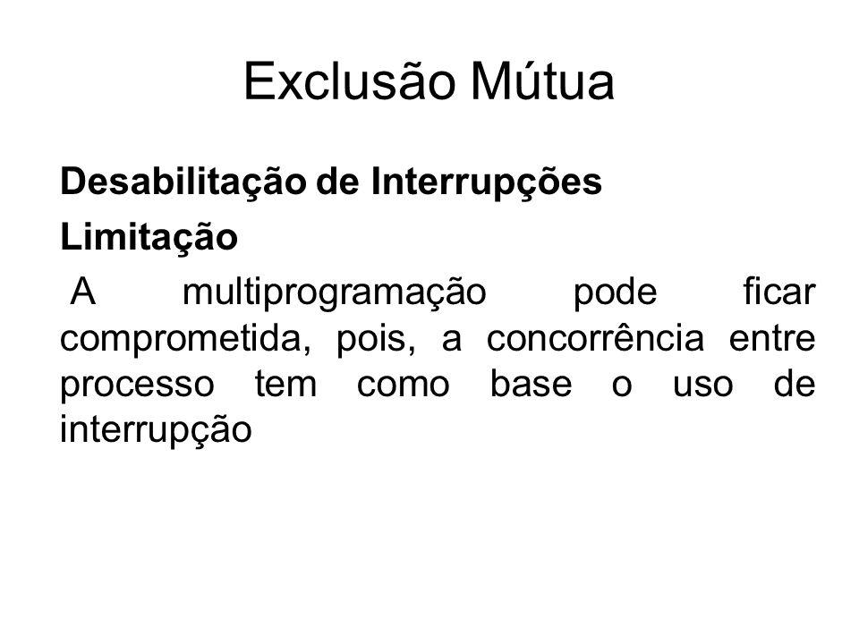 Exclusão Mútua Desabilitação de Interrupções Limitação A multiprogramação pode ficar comprometida, pois, a concorrência entre processo tem como base o