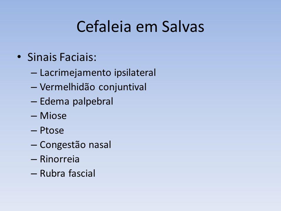 Cefaleia em Salvas Sinais Faciais: – Lacrimejamento ipsilateral – Vermelhidão conjuntival – Edema palpebral – Miose – Ptose – Congestão nasal – Rinorr