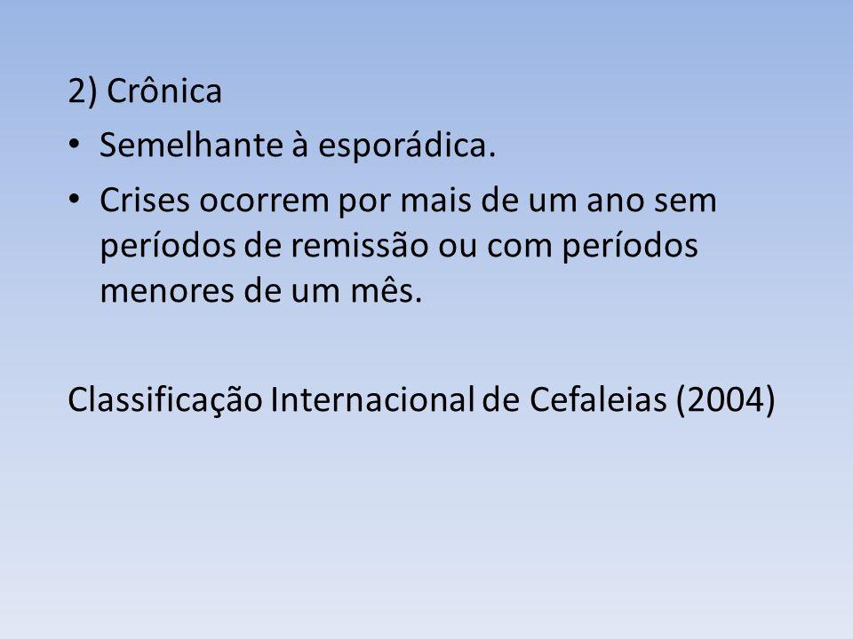 2) Crônica Semelhante à esporádica. Crises ocorrem por mais de um ano sem períodos de remissão ou com períodos menores de um mês. Classificação Intern