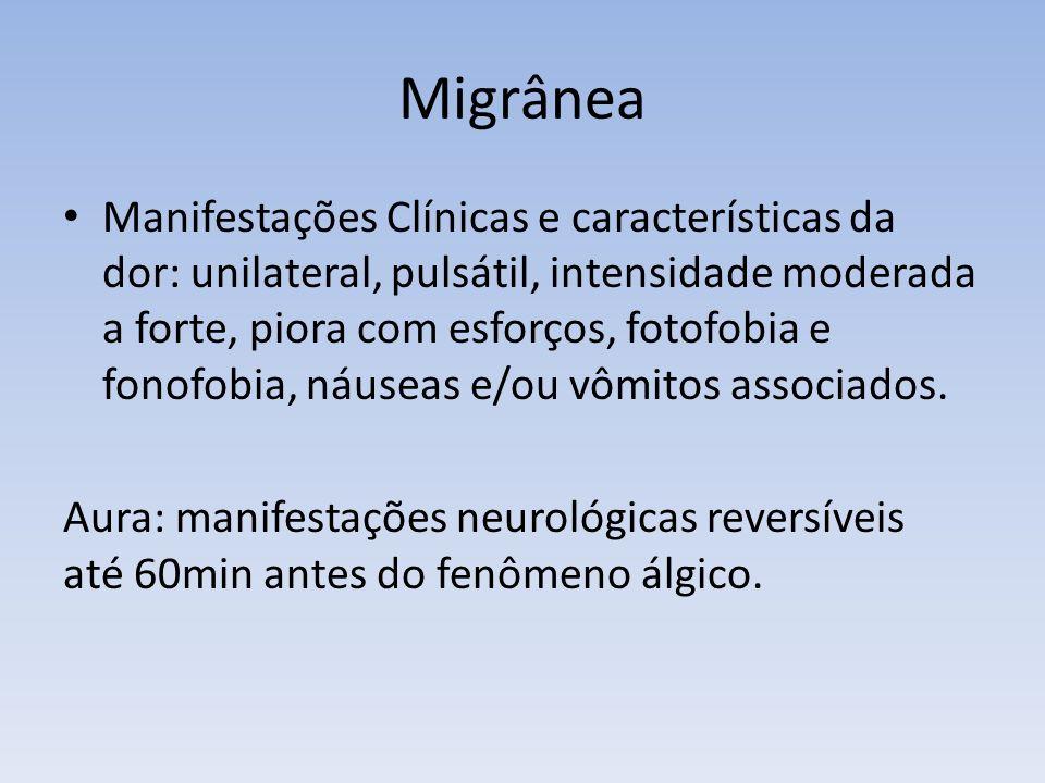 Migrânea Manifestações Clínicas e características da dor: unilateral, pulsátil, intensidade moderada a forte, piora com esforços, fotofobia e fonofobi
