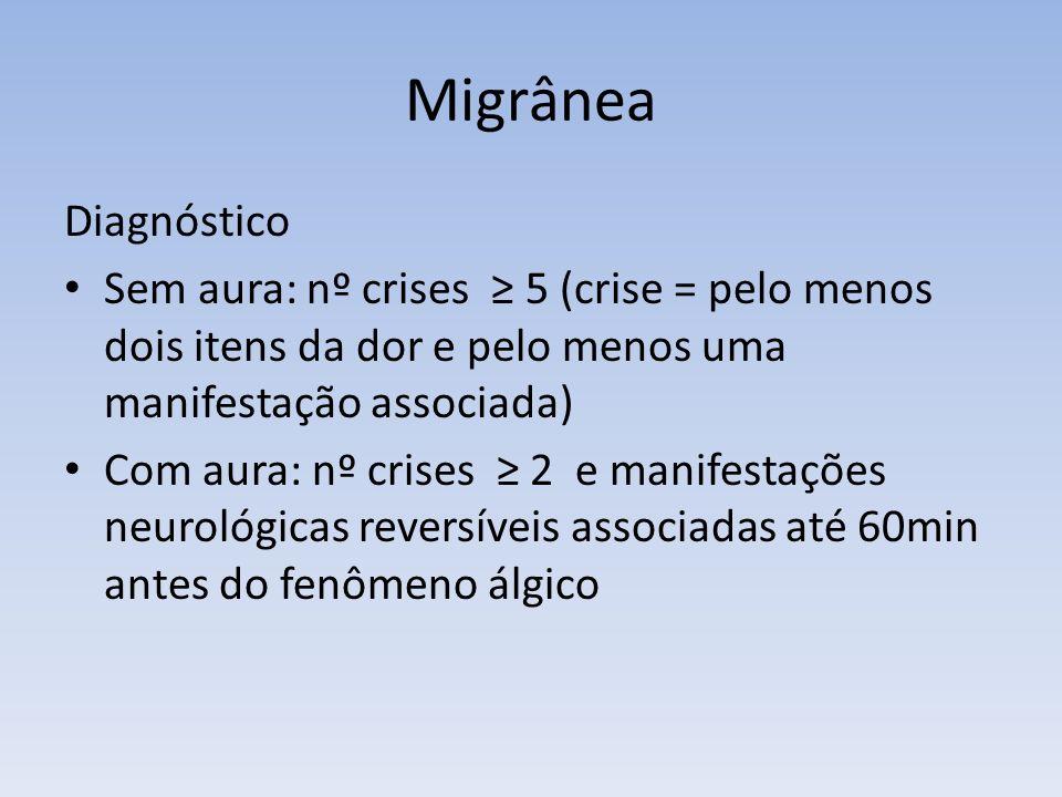 Migrânea Diagnóstico Sem aura: nº crises 5 (crise = pelo menos dois itens da dor e pelo menos uma manifestação associada) Com aura: nº crises 2 e mani