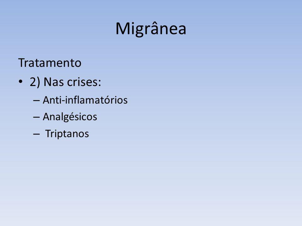 Migrânea Tratamento 2) Nas crises: – Anti-inflamatórios – Analgésicos – Triptanos