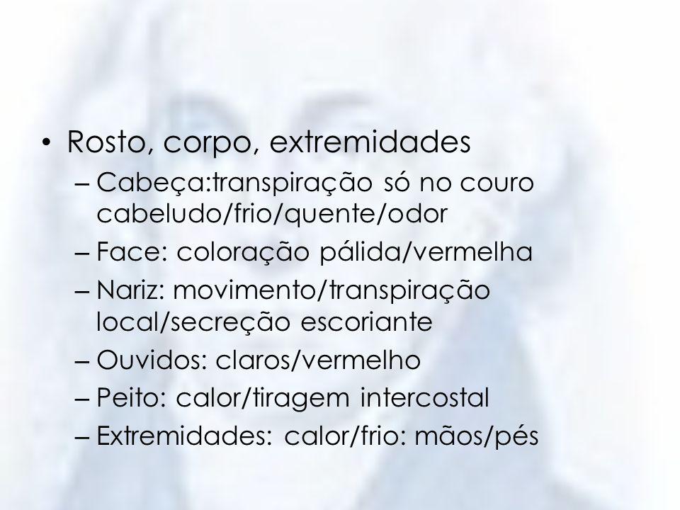 Rosto, corpo, extremidades – Cabeça:transpiração só no couro cabeludo/frio/quente/odor – Face: coloração pálida/vermelha – Nariz: movimento/transpiraç