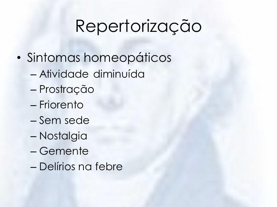 Repertorização Sintomas homeopáticos – Atividade diminuída – Prostração – Friorento – Sem sede – Nostalgia – Gemente – Delírios na febre