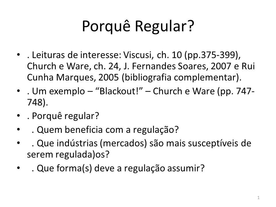Porquê Regular?. Leituras de interesse: Viscusi, ch. 10 (pp.375-399), Church e Ware, ch. 24, J. Fernandes Soares, 2007 e Rui Cunha Marques, 2005 (bibl