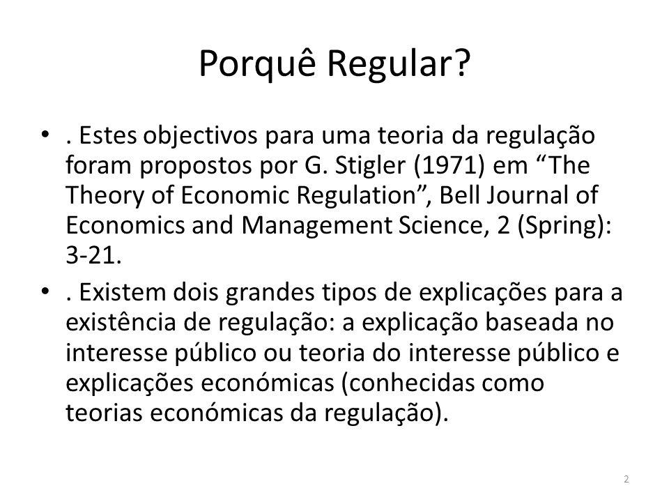 Porquê Regular?. Estes objectivos para uma teoria da regulação foram propostos por G. Stigler (1971) em The Theory of Economic Regulation, Bell Journa