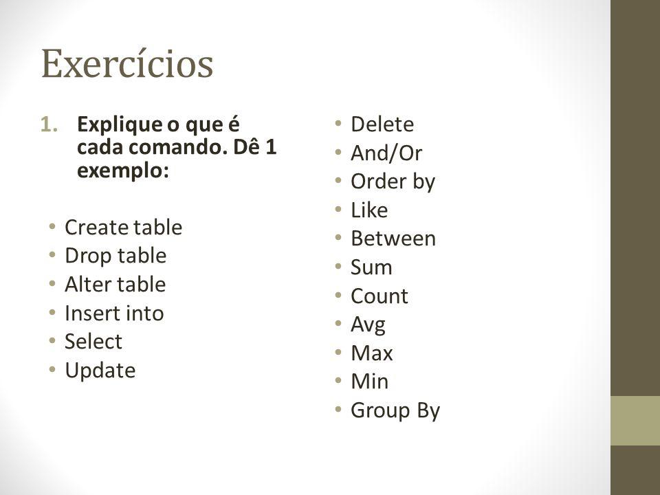 Exercícios 1.Explique o que é cada comando. Dê 1 exemplo: Create table Drop table Alter table Insert into Select Update Delete And/Or Order by Like Be
