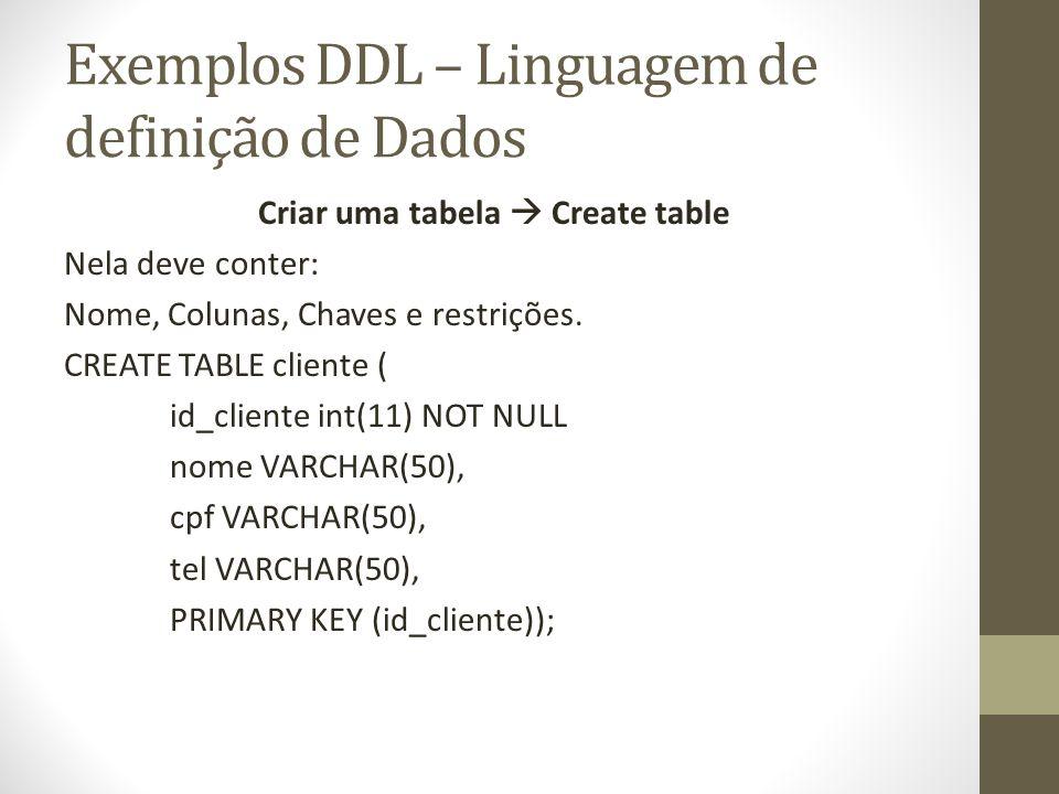 Exemplos DDL – Linguagem de definição de Dados Criar uma tabela Create table Nela deve conter: Nome, Colunas, Chaves e restrições. CREATE TABLE client
