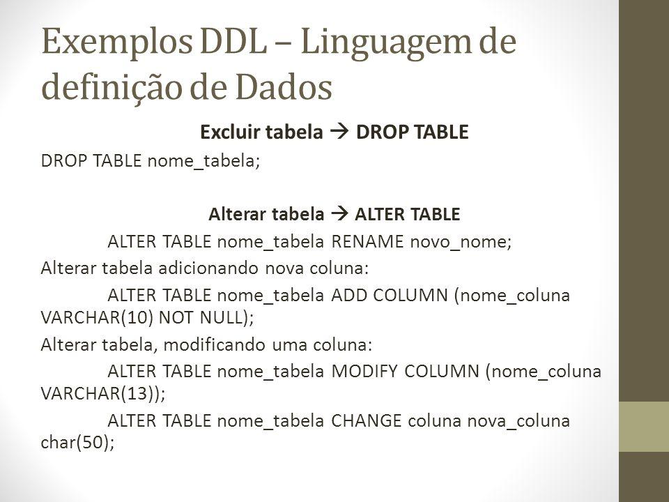 Exemplos DDL – Linguagem de definição de Dados Excluir tabela DROP TABLE DROP TABLE nome_tabela; Alterar tabela ALTER TABLE ALTER TABLE nome_tabela RE
