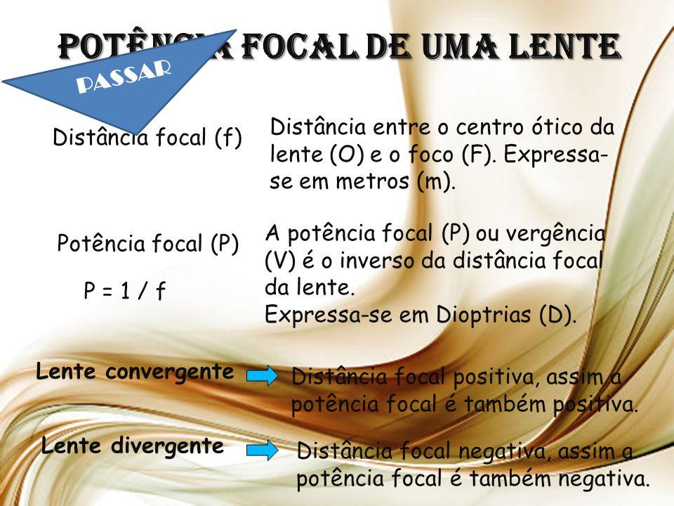 Potência focal de uma lente Distância focal (f) Distância entre o centro ótico da lente (O) e o foco (F).