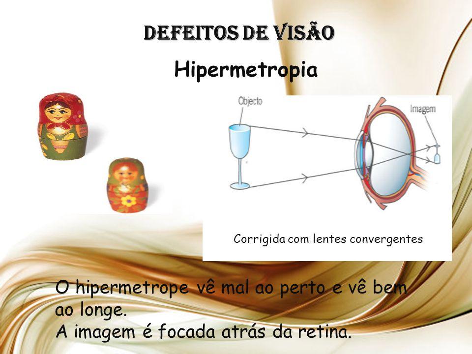 Defeitos de Visão Hipermetropia O hipermetrope vê mal ao perto e vê bem ao longe.