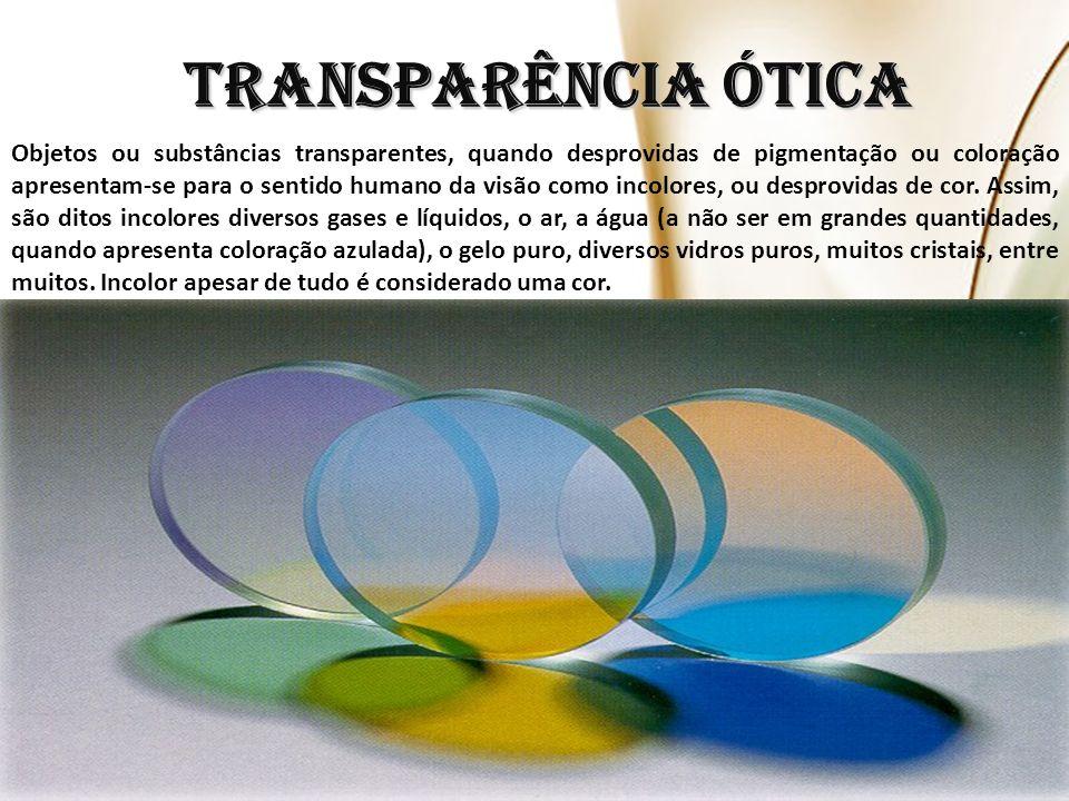 Objetos ou substâncias transparentes, quando desprovidas de pigmentação ou coloração apresentam-se para o sentido humano da visão como incolores, ou desprovidas de cor.